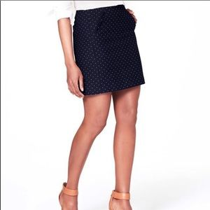 LOFT Navy Polka Dot Tweed Mini Pencil Skirt